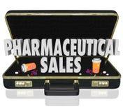 Φαρμακευτικές κάψες χαπιών δειγμάτων ιατρικής χαρτοφυλάκων πωλήσεων διανυσματική απεικόνιση
