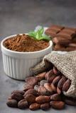 Φασόλια κακάου, σκόνη και σοκολάτα στοκ εικόνα με δικαίωμα ελεύθερης χρήσης