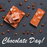 Φασόλια καφέ με τη σοκολάτα στο γκρίζο υπόβαθρο 11 Ιουλίου είναι η ημέρα της σοκολάτας Στοκ Φωτογραφίες