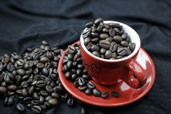 Φασόλι καφέ στο κόκκινο φλυτζάνι στοκ εικόνα με δικαίωμα ελεύθερης χρήσης