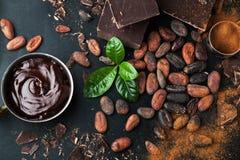 Φασόλια κακάου, σοκολάτα και σκόνη κακάου Στοκ εικόνες με δικαίωμα ελεύθερης χρήσης