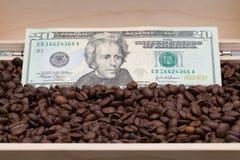 Φασόλια καφέ και αμερικανικό δολάριο Στοκ Φωτογραφία