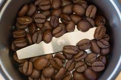 Φασόλια καφέ μέσα στο μύλο καφέ Στοκ Φωτογραφία