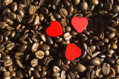 Φασόλια καφέ με την καρδιά Στοκ εικόνα με δικαίωμα ελεύθερης χρήσης