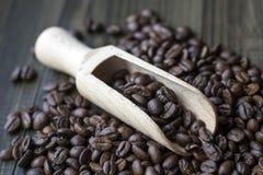 Φασόλια καφέ με την ξύλινη σέσουλα Στοκ φωτογραφίες με δικαίωμα ελεύθερης χρήσης
