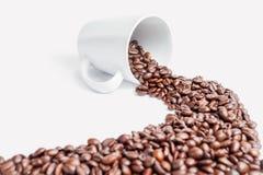 Φασόλια καφέ πορειών σε ένα άσπρο υπόβαθρο Στοκ Εικόνες