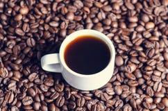 Φασόλια καφέ σε ένα μαύρο υπόβαθρο καφές φασολιών ακατέργασ Κοκκιώδες προϊόν ποτό ζεστό κλείστε επάνω συγκομιδή Φυσική ανασκόπηση Στοκ Φωτογραφία