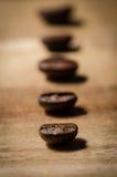 Φασόλια καφέ σε μια σειρά Στοκ Φωτογραφία
