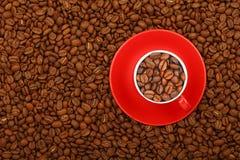 Φασόλια καφέ στο κόκκινο φλυτζάνι με τη τοπ άποψη πιατακιών Στοκ φωτογραφίες με δικαίωμα ελεύθερης χρήσης