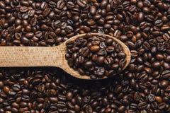 Φασόλια καφέ στο ξύλινο κουτάλι Στοκ Εικόνες