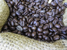 Φασόλια καφέ στο σάκο Στοκ φωτογραφία με δικαίωμα ελεύθερης χρήσης