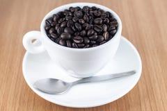 Φασόλια καφέ στο φλυτζάνι καφέ Στοκ φωτογραφία με δικαίωμα ελεύθερης χρήσης