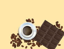 Φασόλια καφέ, φραγμός σοκολάτας και άσπρο φλυτζάνι Cofee που απομονώνονται στο κίτρινο υπόβαθρο Στοκ Εικόνα