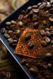 Φασόλια φλιτζανιών του καφέ και καφέ Στοκ Εικόνες