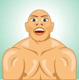 Φαλακροί τεντώνοντας μυ'ες bodybuilder διανυσματική απεικόνιση