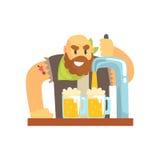 Φαλακρός γενειοφόρος bartender χαρακτήρας ατόμων που στέκεται στην αντίθετη χύνοντας μπύρα φραγμών ελεύθερη απεικόνιση δικαιώματος