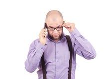 Φαλακρός επιχειρηματίας ατόμων που μιλά στο τηλέφωνο Στοκ Εικόνες