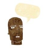 φαλακρός σκληρός άνδρας κινούμενων σχεδίων με τη λεκτική φυσαλίδα Στοκ Εικόνα