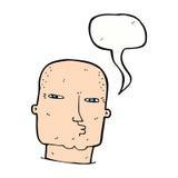 φαλακρός σκληρός άνδρας κινούμενων σχεδίων με τη λεκτική φυσαλίδα Στοκ Εικόνες