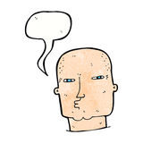 φαλακρός σκληρός άνδρας κινούμενων σχεδίων με τη λεκτική φυσαλίδα Στοκ Φωτογραφίες