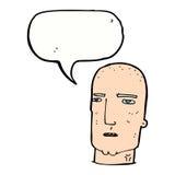 φαλακρός σκληρός άνδρας κινούμενων σχεδίων με τη λεκτική φυσαλίδα Στοκ Φωτογραφία