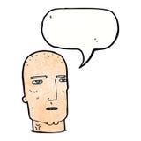 φαλακρός σκληρός άνδρας κινούμενων σχεδίων με τη λεκτική φυσαλίδα Στοκ φωτογραφία με δικαίωμα ελεύθερης χρήσης