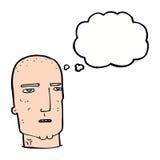 φαλακρός σκληρός άνδρας κινούμενων σχεδίων με τη σκεπτόμενη φυσαλίδα Στοκ Εικόνες