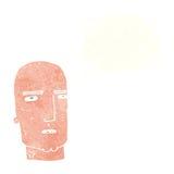 φαλακρός σκληρός άνδρας κινούμενων σχεδίων με τη σκεπτόμενη φυσαλίδα Στοκ Φωτογραφία
