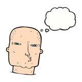 φαλακρός σκληρός άνδρας κινούμενων σχεδίων με τη σκεπτόμενη φυσαλίδα Στοκ εικόνα με δικαίωμα ελεύθερης χρήσης
