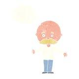 φαλακρό άτομο κινούμενων σχεδίων με τις ανοικτές αγκάλες με τη σκεπτόμενη φυσαλίδα Στοκ Εικόνες