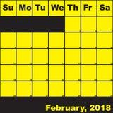 2018 Φεβρουάριος κίτρινος στο μαύρο ημερολόγιο αρμόδιων για το σχεδιασμό απεικόνιση αποθεμάτων
