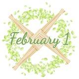 1 Φεβρουαρίου Αρχή των ειδωλολατρικών διακοπών άνοιξη Σταυρός της Brigid σε ένα στεφάνι των πράσινων φύλλων ελεύθερη απεικόνιση δικαιώματος