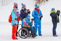 11 Φεβρουαρίου 2017 ετήσιος μαραθώνιος σκι Russialoppet Nikolov Perevoz 2017 φυλών σκι κτημάτων τέχνη-Veretevo Φυλή Paralympic Στοκ Φωτογραφία