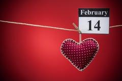 14 Φεβρουαρίου, ημέρα του βαλεντίνου, κόκκινη καρδιά Στοκ Φωτογραφίες