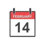 14 Φεβρουαρίου ημερολογιακό εικονίδιο Διανυσματική απεικόνιση στο επίπεδο ύφος Va Στοκ Φωτογραφία