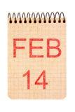 14 Φεβρουαρίου ημερολόγιο Στοκ φωτογραφία με δικαίωμα ελεύθερης χρήσης