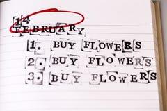 14 Φεβρουαρίου, η ημέρα βαλεντίνων, αγοράζει το κείμενο λουλουδιών Στοκ Εικόνες