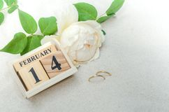 14 Φεβρουαρίου, ξύλινο ημερολόγιο με τα δαχτυλίδια και λουλούδι στην άμμο backg Στοκ εικόνες με δικαίωμα ελεύθερης χρήσης