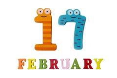 17 Φεβρουαρίου στο άσπρους υπόβαθρο, τους αριθμούς και τις επιστολές Στοκ Εικόνες