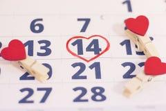 14 Φεβρουαρίου στο ημερολόγιο Στοκ Εικόνες