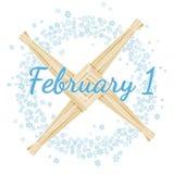 1 Φεβρουαρίου Imbolc r Στεφάνι snowflakes με το σταυρό της Brigid Διανυσματική κάρτα διανυσματική απεικόνιση