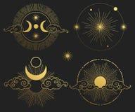 Φεγγάρι, ήλιος, πλανήτες και αστέρια Διανυσματικά πρότυπα Απεικόνιση αποθεμάτων