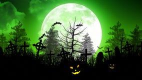 Φεγγάρι αποκριών πέρα από το νεκροταφείο στον πράσινο ουρανό διανυσματική απεικόνιση