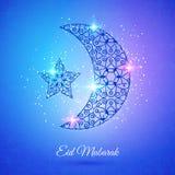 Φεγγάρι για το μουσουλμανικό κοινοτικό φεστιβάλ Eid Μουμπάρακ απεικόνιση αποθεμάτων