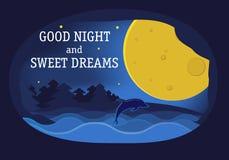 Φεγγάρι, δελφίνι και αστέρια τέχνης εγγράφου στα μεσάνυχτα ελεύθερη απεικόνιση δικαιώματος