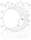 Φεγγάρι, ημισέληνος, ουρανός, σύννεφα, αστέρια, σχέδια λουλουδιών, δερματοστιξία Στοκ Φωτογραφία