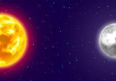Φεγγάρι και ήλιος, υπόβαθρο νυχτερινού ουρανού, ύφος κινούμενων σχεδίων Στοκ Εικόνα