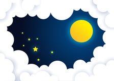 φεγγάρι και αστέρια στα μεσάνυχτα σύννεφο στη νύχτα απεικόνιση αποθεμάτων