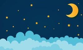 Φεγγάρι και αστέρια στα μεσάνυχτα ύφος τέχνης εγγράφου - διάνυσμα διανυσματική απεικόνιση