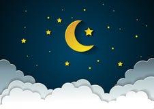 Φεγγάρι και αστέρια στα μεσάνυχτα ύφος τέχνης εγγράφου διανυσματική απεικόνιση